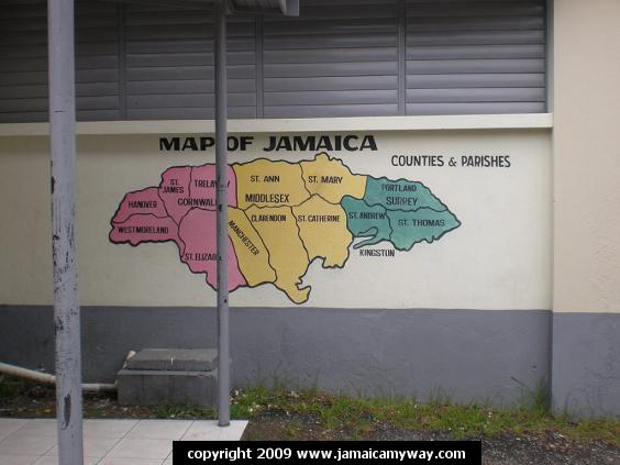 Map of Jamaica parishes and counties