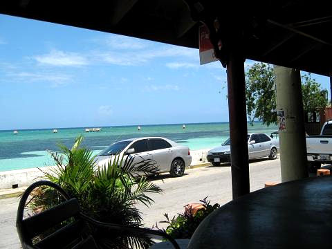 Looking out to Dead End beach from the bar