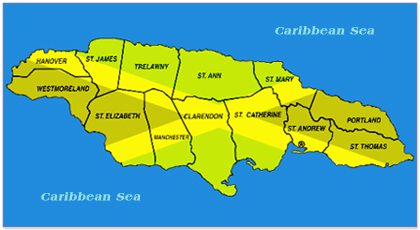 jamaica parish map